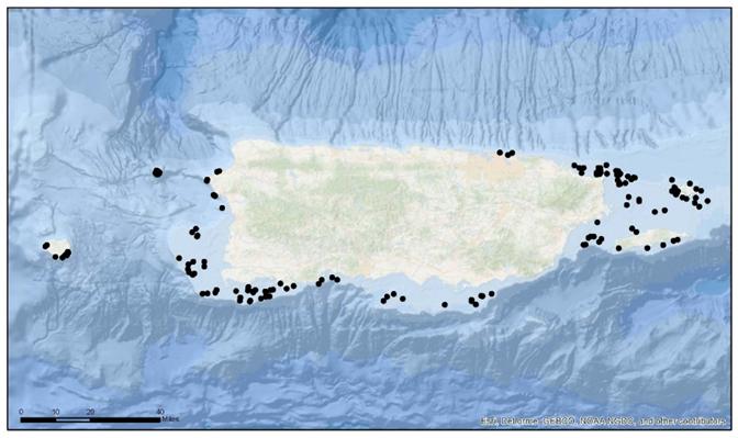 Sites sampled around island of Puerto Rico during 2016–2017 NCRMP season.