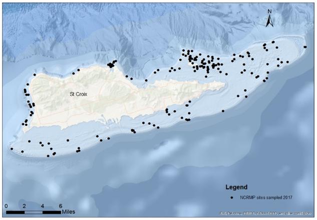 Sites sampled around island of St. Croix, USVI, during 2017 NCRMP season.