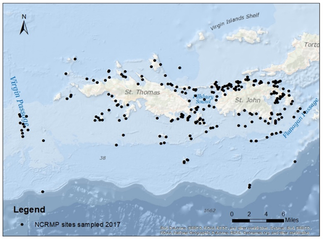 Sites sampled around islands of St. John and St. Thomas, USVI, during 2017 NCRMP season.