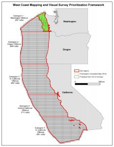 Proposed spatial framework for identifying seafloor mapping and visual survey priorities along the U.S. West CONUS Coast. This framework is based on the 10'x10' California commercial fishing block designations.