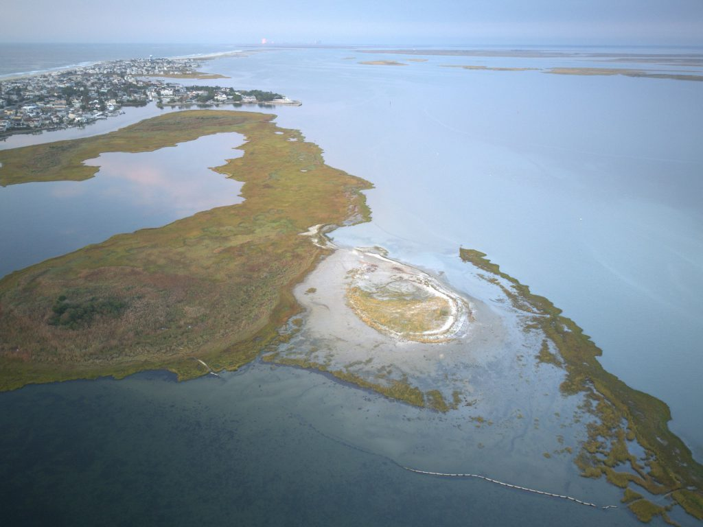 Aerial image of Mordecai Island, New Jersey, in October 2018. The central mound with vegetation on top is the sediment placement area. Image captured at high tide.
