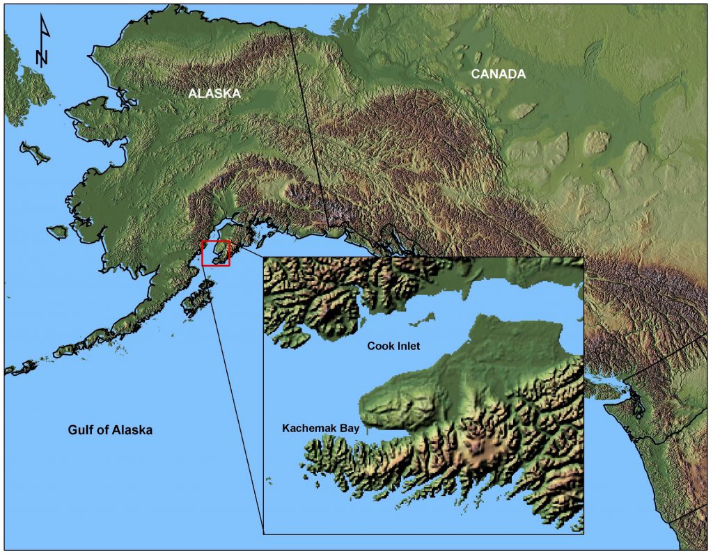 Map of Alaska, with inset map of Kenai Peninsula study area.
