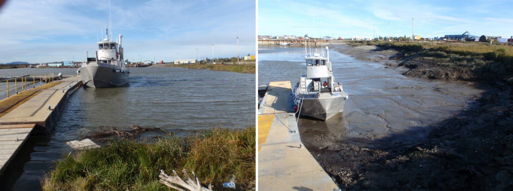 High tide (left) compared with low tide (right) in Nushagak Bay, Alaska.