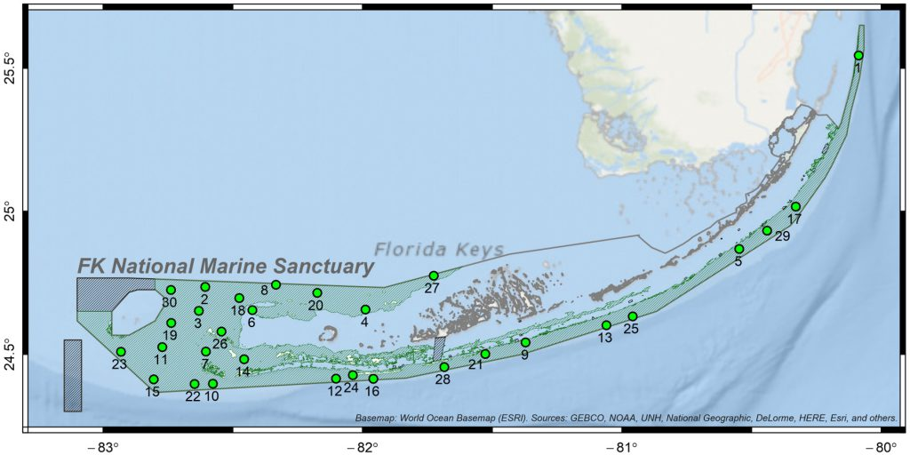 Study area (green shading) and location of 30 sites sampled in Florida Keys National Marine Sanctuary.