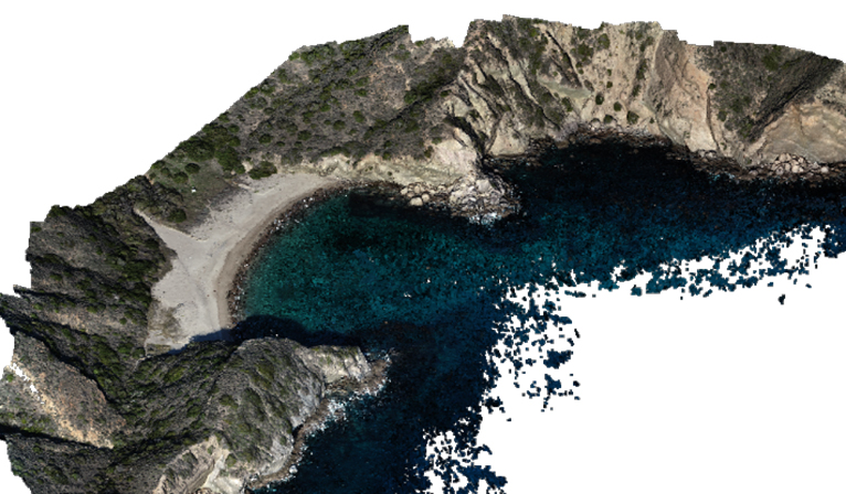 Three dimensional model of Coches Harbor, Santa Cruz Island, CA, developed from digital aerial photographs collected by the small unmanned aircraft system (sUAS).