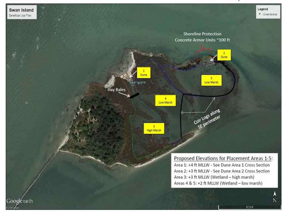 Map of Swan Island Restoration Plan.