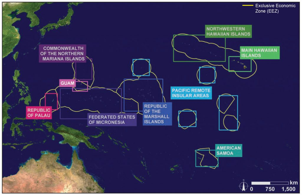 Map showing location of U.S. coral reef ecosystems in the Pacific Ocean.