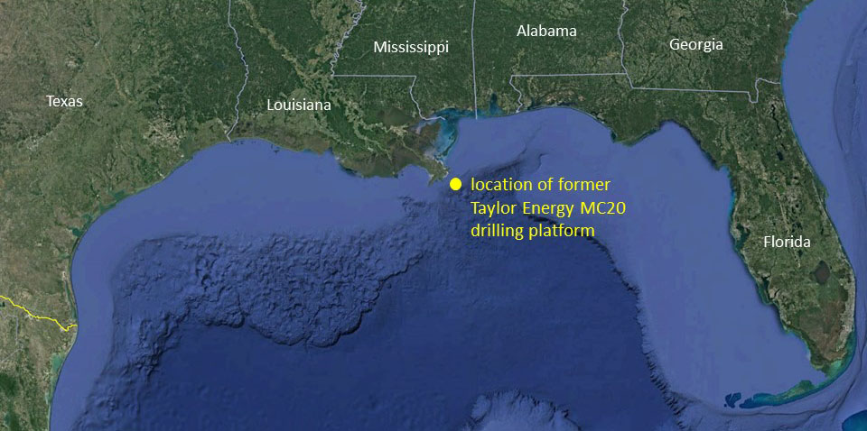 Map showing location of former Taylor Energy MC20 drilling platform.