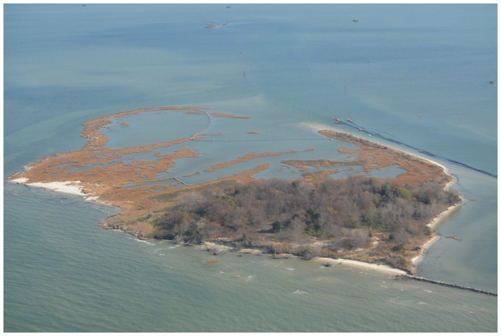 Aerial photo of Swan Island before dredge application and planting, 2017.