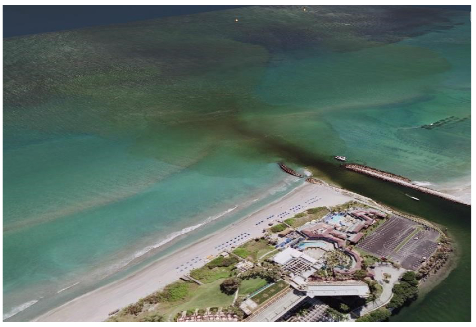 Aerial photo of plume at Boca Raton Inlet.