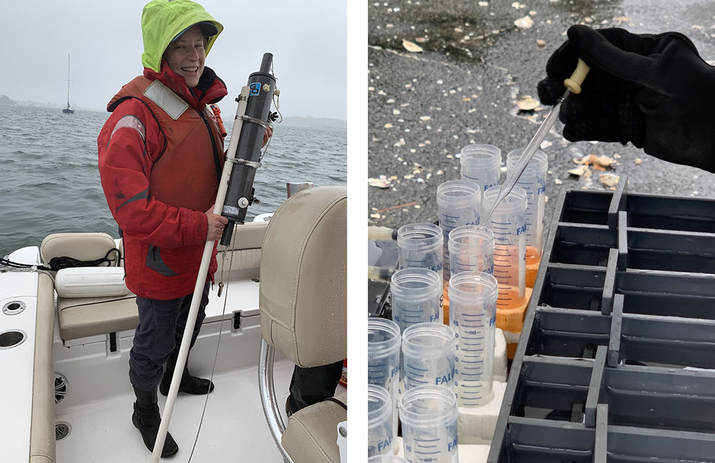 combo image of researcher holding water sampler at Greenwich Harbor aquaculture study site, and another researcher collecting biodeposits from one of the study oysters.