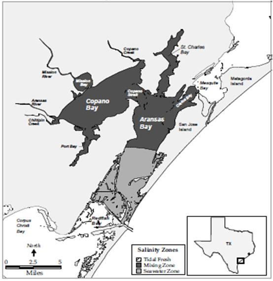 locator map for Copano Bay, Texas