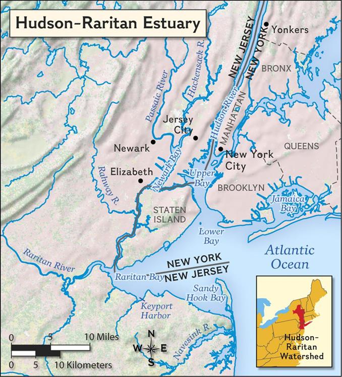 Map of Hudson–Raritan Bays and watershed.