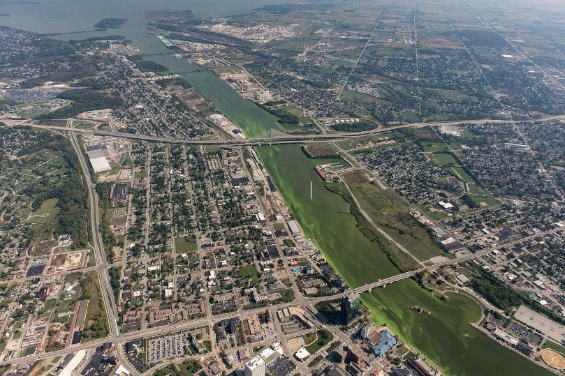 Aerial view of the 2017 cyanobacteria bloom at the mouth of the Maumee River, Toledo, Ohio.