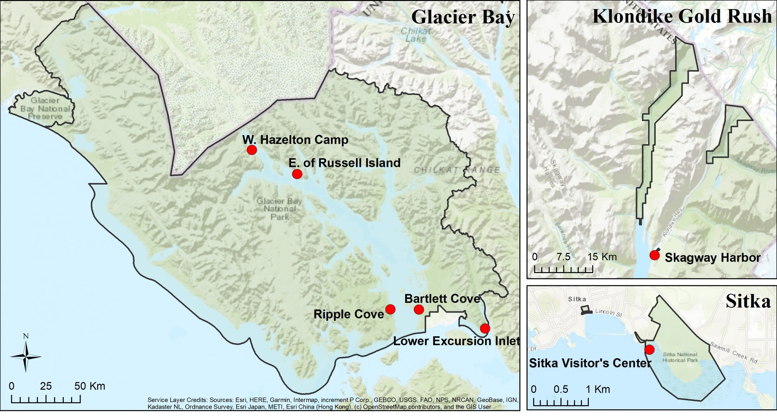 Map of SEAN's six long-term marine contaminants monitoring stations in Glacier Bay National Park and Preserve, Klondike Gold Rush National Historical Park, Sitka National Historical Park, and one site in Skagway Harbor (sampled in partnership with the Municipality of Skagway). Red dots represent bay mussel tissue analysis collection sites.