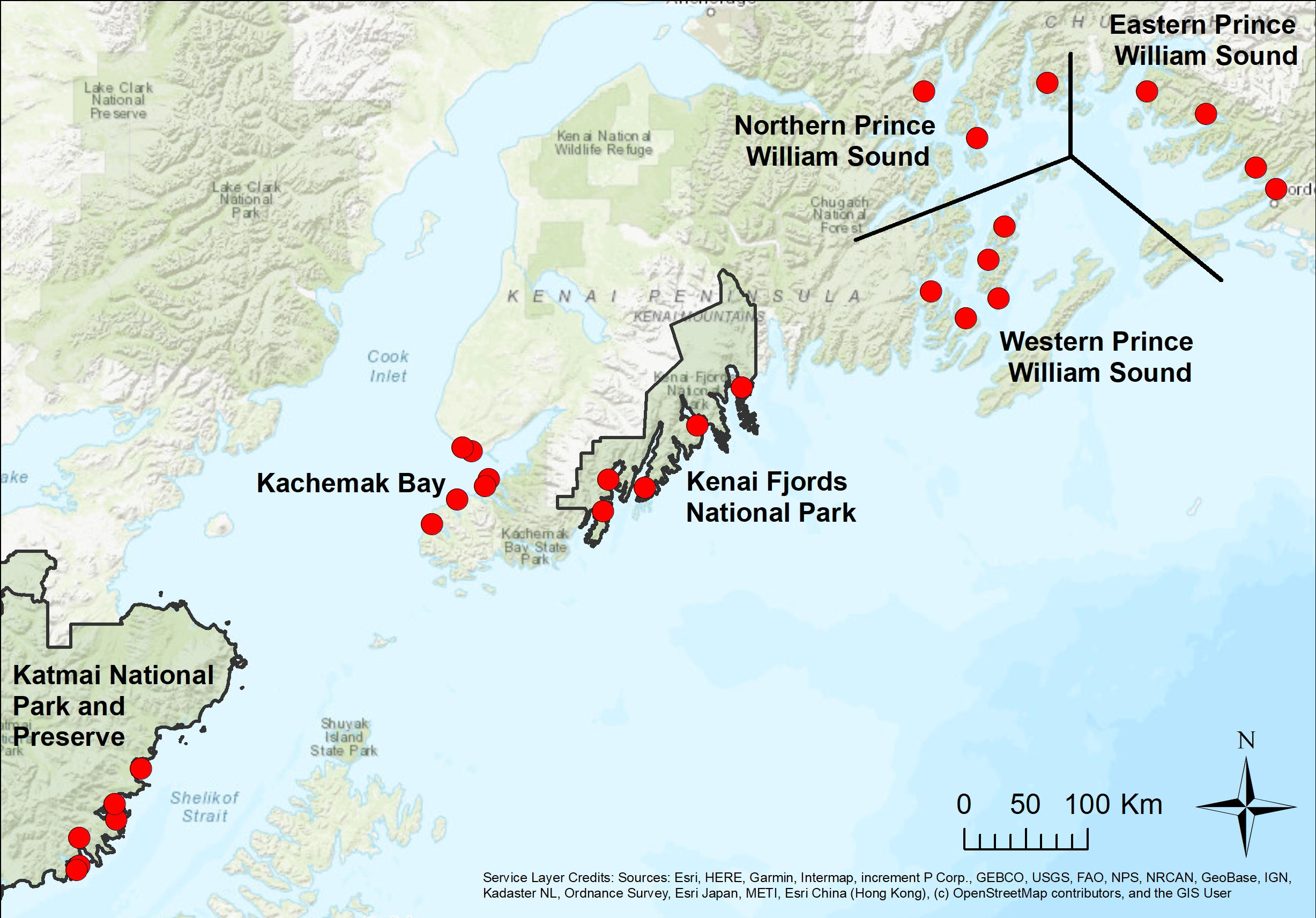 Map of SWAN long-term marine contaminants monitoring stations in Katmai National Park and Preserve and Kenai Fjords National Park, and sites in Prince William Sound and Kachemak Bay sampled in partnership with Gulf Watch Alaska. Red dots represent bay mussel tissue analysis collection sites.