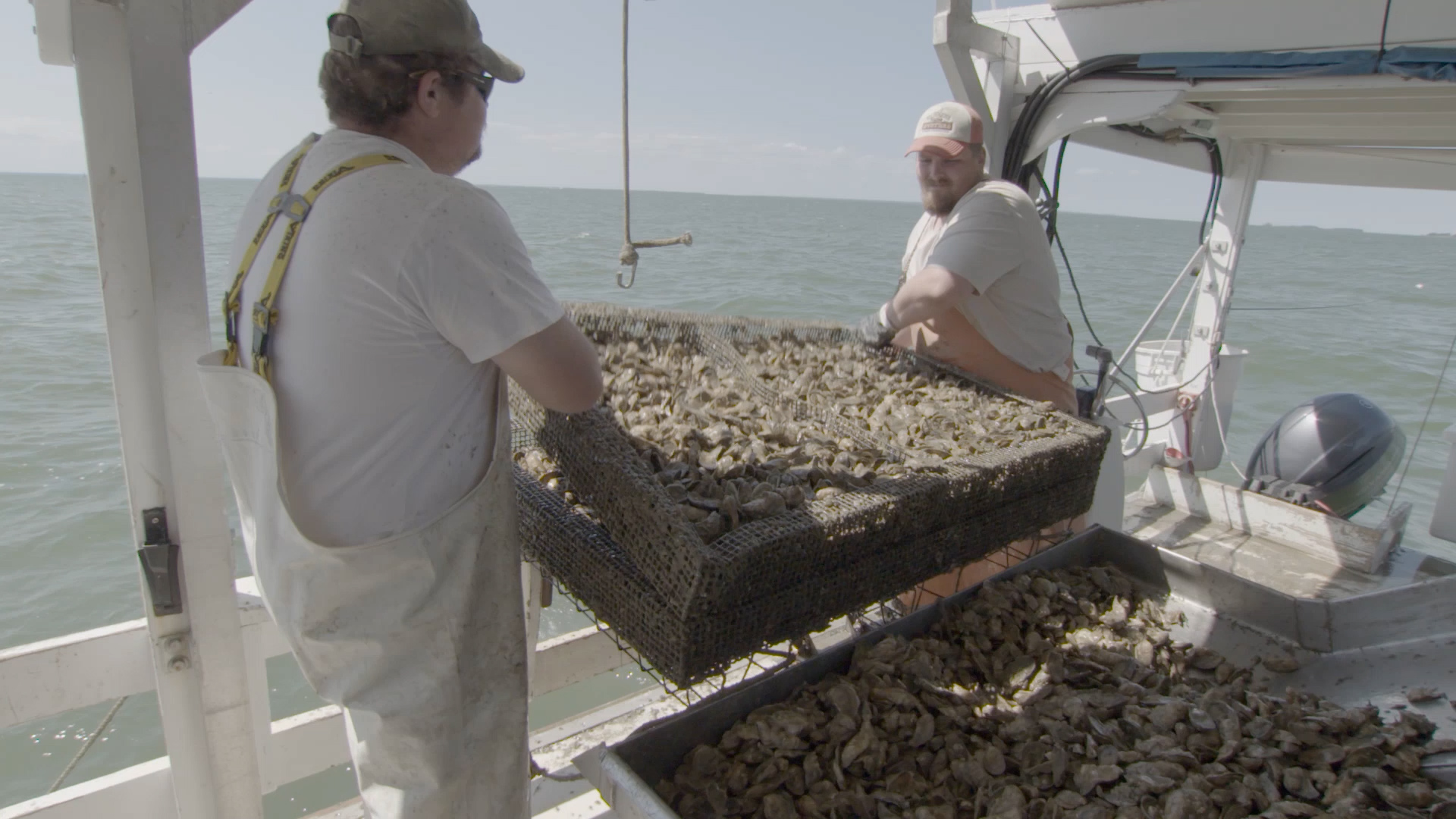 Oyster farmers in Chesapeake Bay, Maryland, 2016.