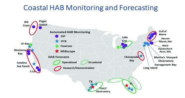 National Coastal Harmful Algal Bloom Monitoring and Forecasting map