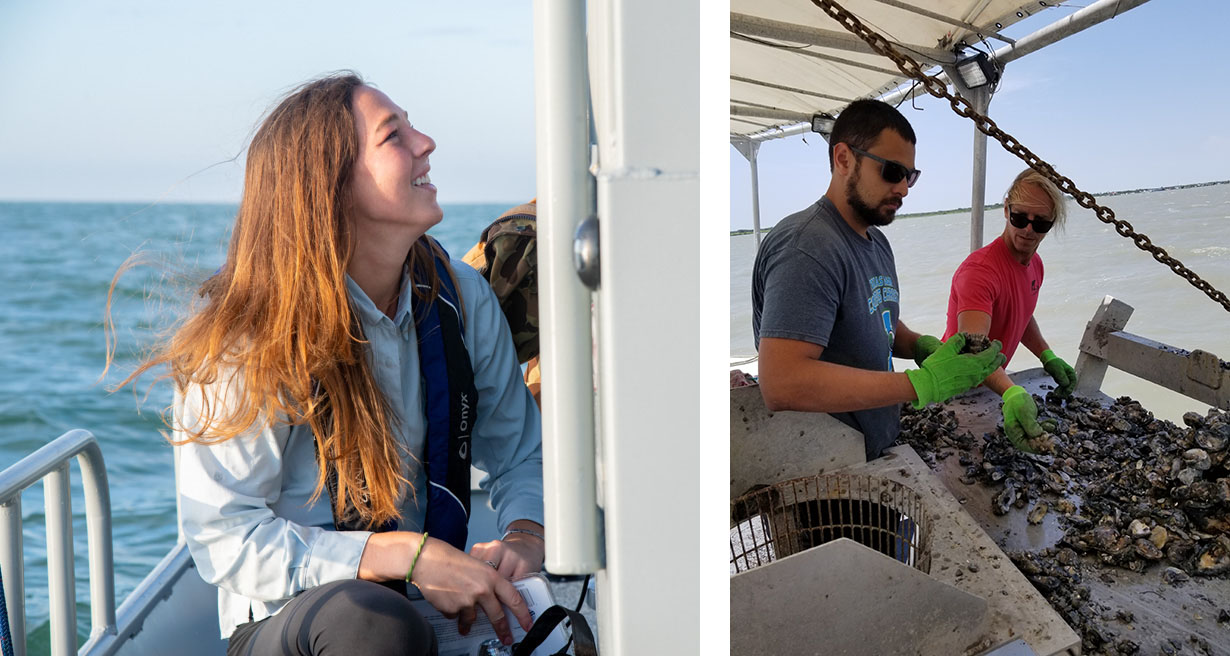 Left: Lily Walker en route to a sampling site along the Texas coast. Right: Anthony Lima collects oysters from his study area to assess potential nitrogen removal associated with oyster cultivation.