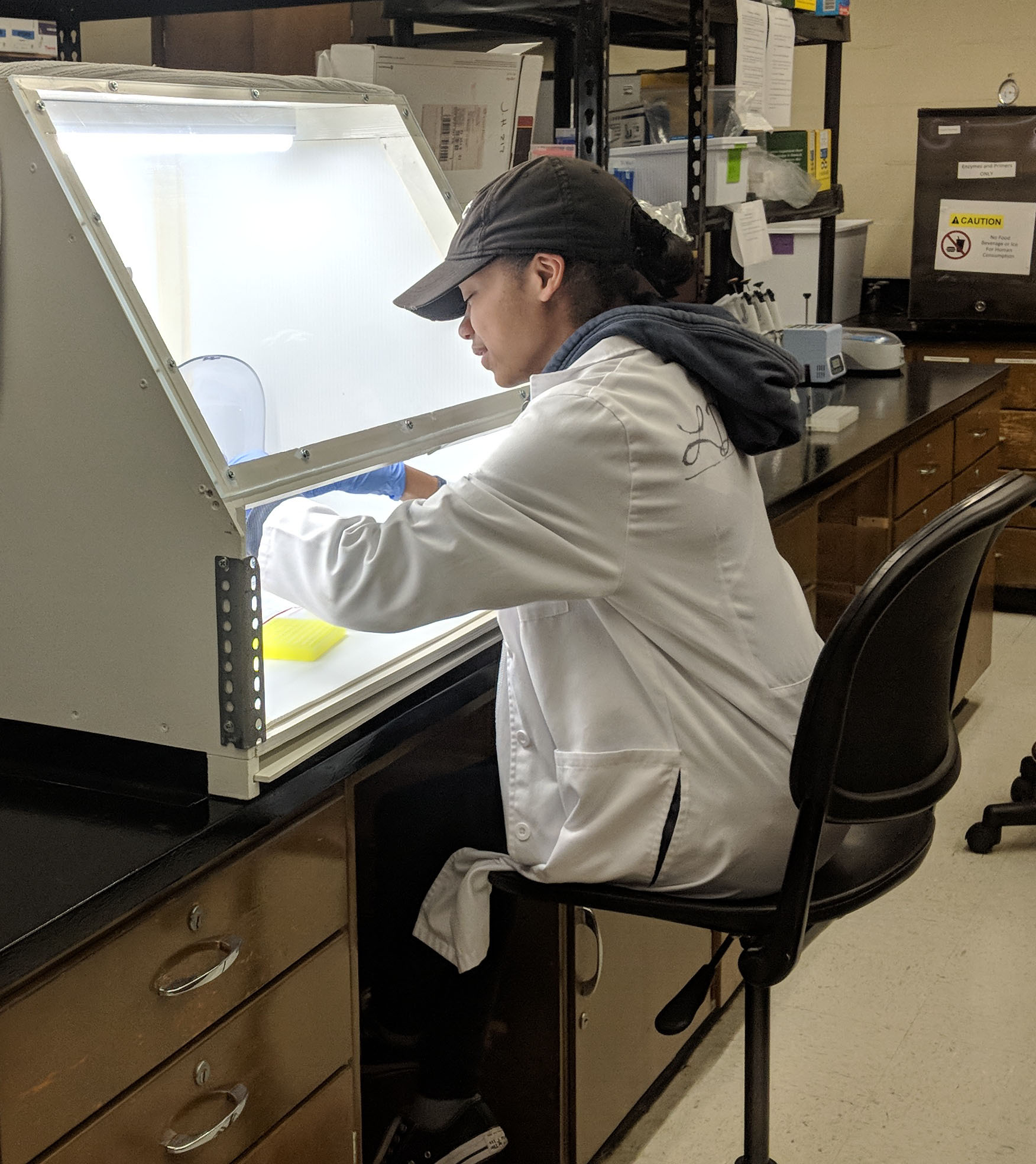 Liyah Smith prepares a Polymerase Chain Reaction (PCR) microplate for analysis. The PCR technique amplifies DNA from a sample to facilitate detailed study of the DNA.