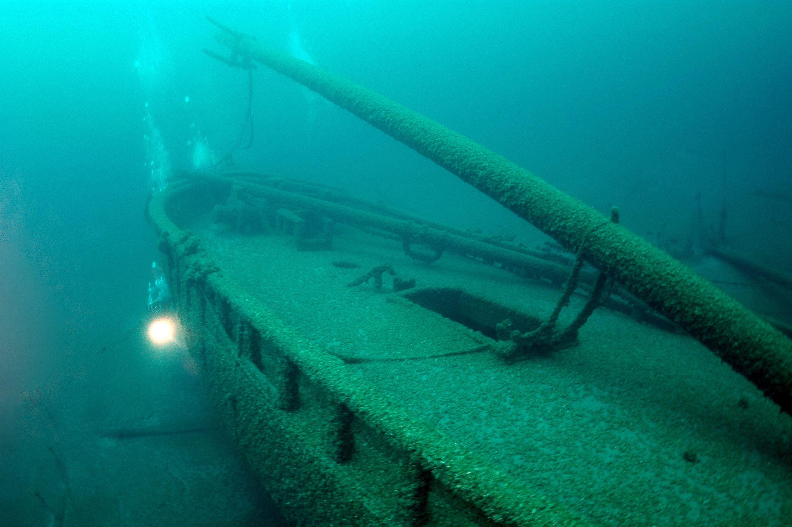 Photo of the schooner Gallinipper, Wisconsin's oldest shipwreck discovered to date.