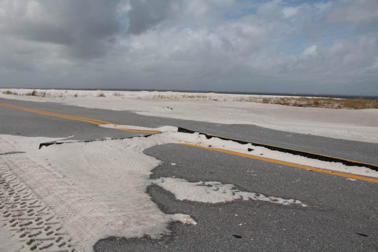 Road damage after Hurricane Sally on Fort Pickens Rd. in Pensacola, Florida.